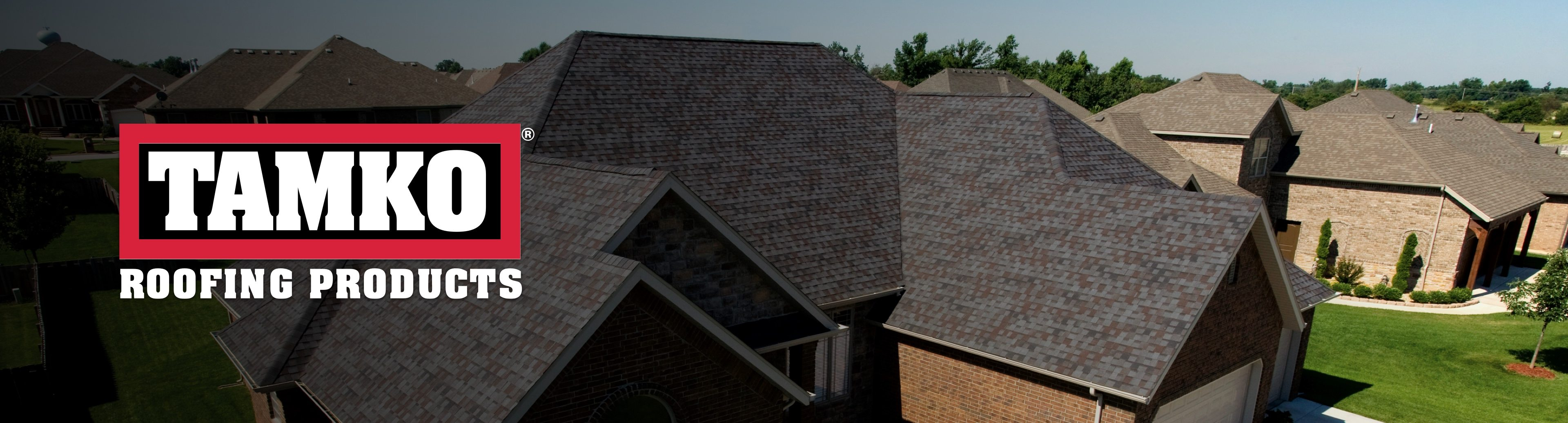 Tamko Roofing Products logo with roofing on house in background