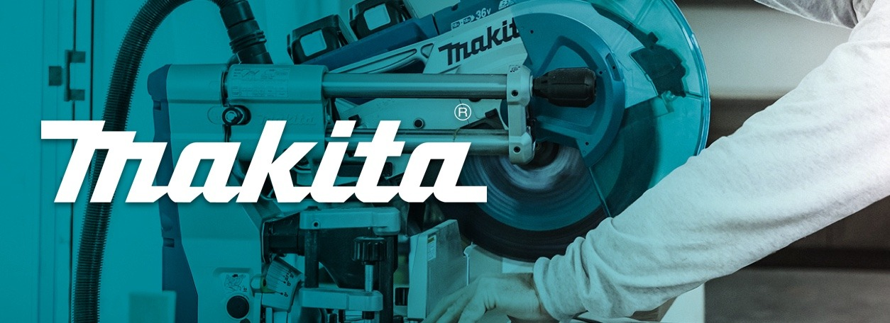 Makita logo with person using Makita power saw