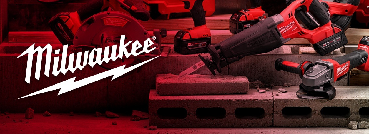 Milwaukee logo with power tool assortment