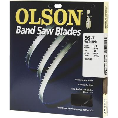 Olson 56-1/8 In. x 1/4 In. 6 TPI Hook Wood Cutting Band Saw Blade