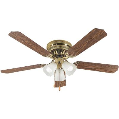 Home Impressions Piedmont 52 In. Polished Brass Ceiling Fan with Light Kit